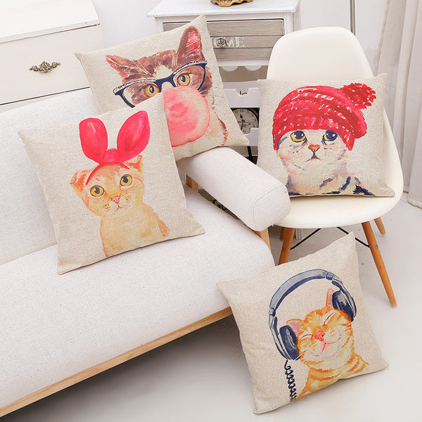 Cute Lovely Cat Decorative Cushion Cover Cotton Linen Square Throw Pillow Cover 45x45CM Pillow Case Home Office Car Sofa Decor-Justt Click