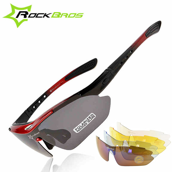 ROCKBROS Polarized Sports Men Sunglasses Road Cycling Glasses Mountain Bike Bicycle Riding Protection Goggles Eyewear 5 Lens-Justt Click