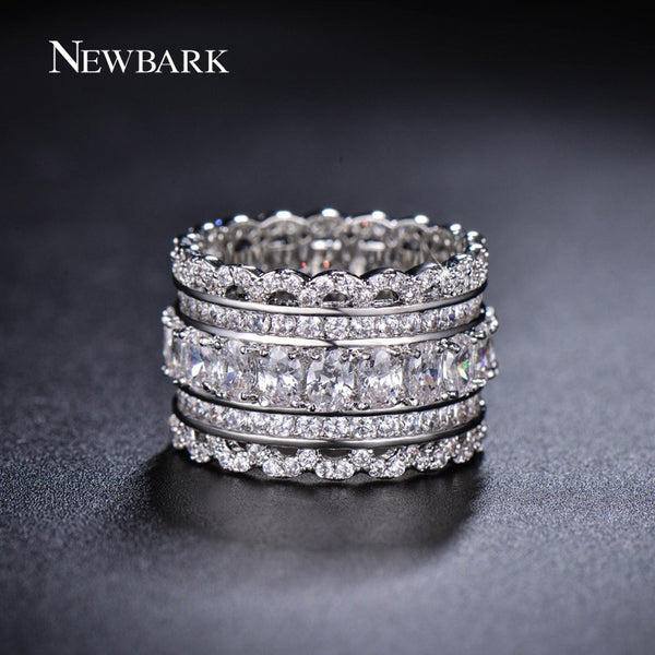 NEWBARK Luxury Wide Circle Women Rings With Oval AAA Cubic Zirconia-Justt Click