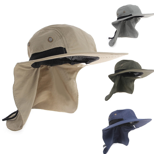 2015 New Boonie Fishing Boating Hiking Outdoor Snap Hat Brim Ear Neck Cover Sun Flap Cap-Justt Click