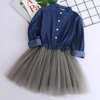 Girl Mesh Dress 2018 New Spring Dresses Children Clothing Princess Dress PinkWool Bow Design 2-8 Years Girl Clothes Dress-Justt Click