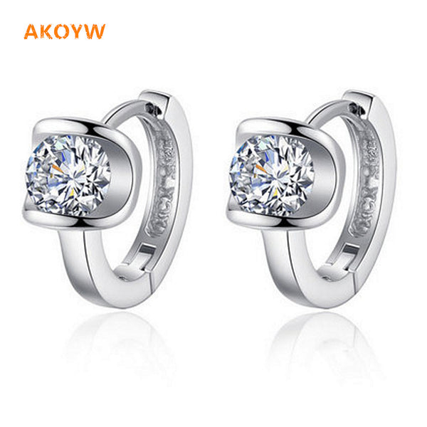 The new U-shaped silver Ms. Angel kiss cubic zirconia earrings fashion-Justt Click