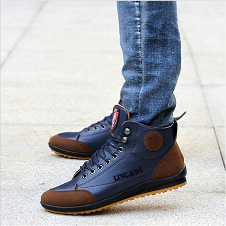 New 2018 Men Leather Boots Fashion Autumn Winter Warm Cotton Brand Ankle Boots Lace Up Men Shoes Footwear Casual Drop Shipping-Justt Click