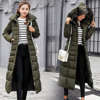New Coat Jacket 2018 long Fashion Winter Jacket Women Thick Down Parka female Slim Fur Collar Winter Warm Cotton Coat For Women-Justt Click