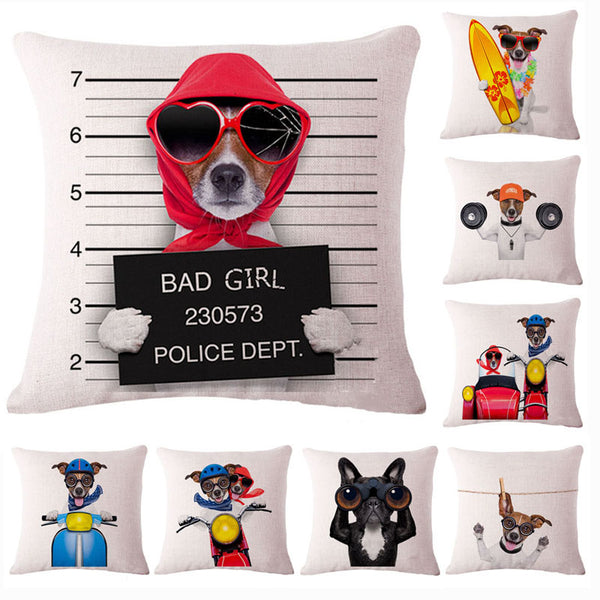 Fashion Cute Dog Cotton Linen Decorative Pillow Case Chair Waist Seat Square 45x45cm Pillow Cover Home Garden Textile-Justt Click