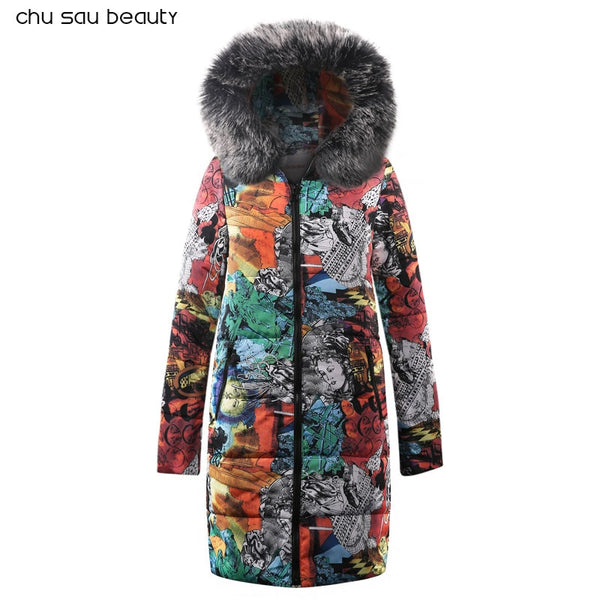 Big fur winter coat thickened parka women stitching slim long winter coat down cotton ladies down parka down jacket women - Justt Click