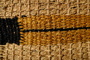 Natural, Black & Mustard Seagrass Rug