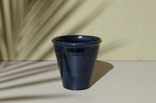 Deep Blue Glazed Pot - Dia: 17cm, 22cm