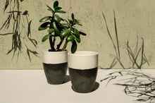 Load image into Gallery viewer, Black & White Two Tone Mug/Plant Pot - Dia: 6.5cm, 8cm