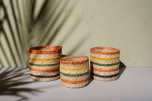 Pastel Striped Jute Plant Pot - Dia: 12cm, 14cm, 16cm