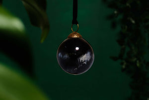 Black & Smoke Round Glass Bauble