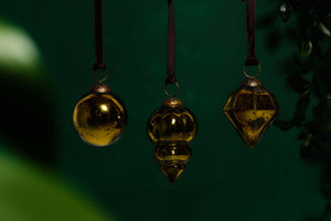 Set of 3 Antique Gold Glass Baubles (Mixed Shapes)