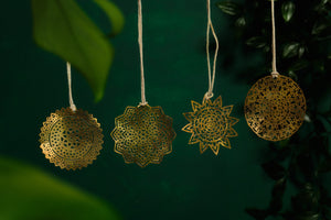 Set of 4 Brass Snowflake Decorations