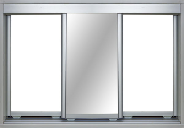 Mat Natural Frame with White Vinyl and Mirror - Sliding Wardrobe Doors