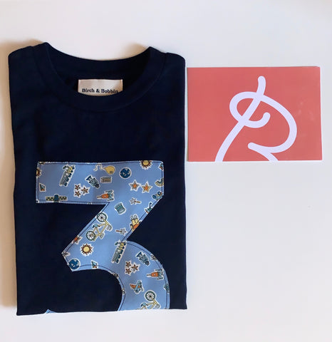 Birch & Bobbin Birthday T-shirt Age 3