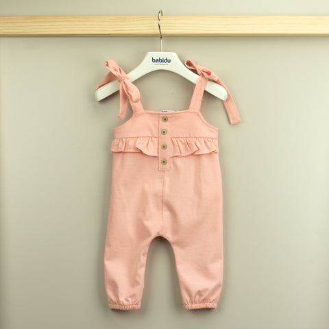 Babidu Girls Peach Playsuit