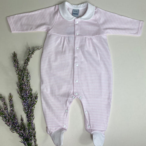Babidu Baby Girls Pink and White Stripe Babygrow