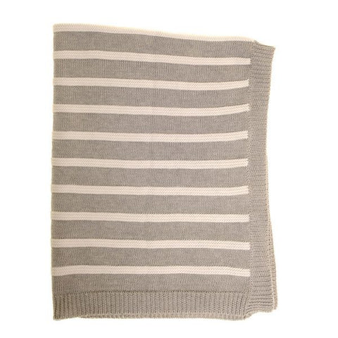 Ziggle Grey and White Striped Blanket