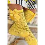 Condor Lemon Openwork Kneehigh Socks