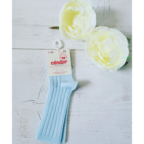 Condor Pale Blue Ribbed Knee Socks