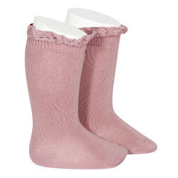 Condor Knee-High Lace Edging Socks - Tamarisk