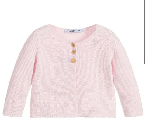 Babies Girls Pink Cotton Knit Cardigan