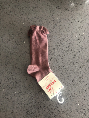 Condor Socks With Lace Edging Mocha