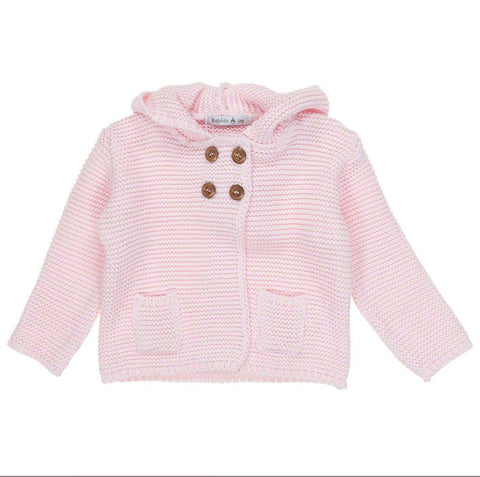 Babidu Baby Girls Hooded Knit Jacket - Pink