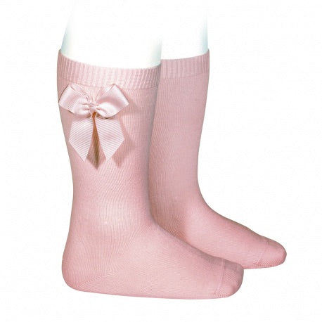Condor Knee Sock with Side Bow - Pale Pink