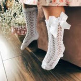 Condor Openwork Sock with Bow White