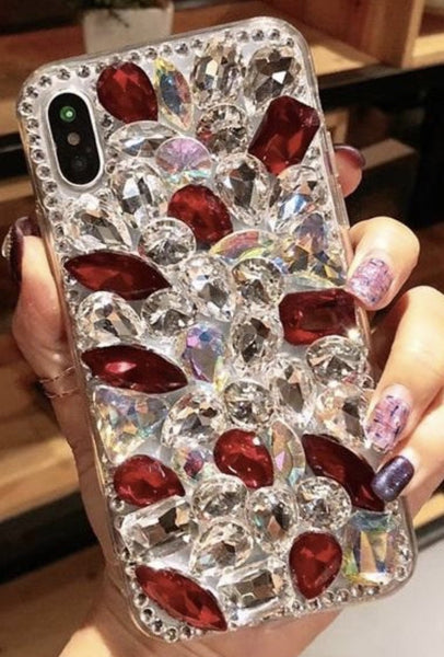 All Blinged Out cellphone case - Red and Clear