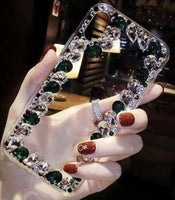 Over the Edge blinged out cellphone case - Green and Clear