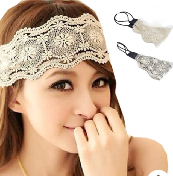 Lace headband -BEIGE