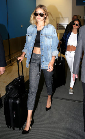 Gigi Hadid in Track Pants and Crop Top