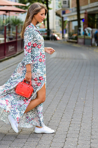 floral maxi dress white sneaker