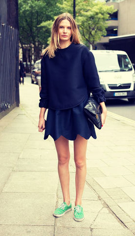 green sneaker black little mini skirt
