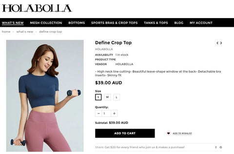 HOLABOLLA Activewear Navy Crop Top Image