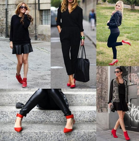 red heels with all black look