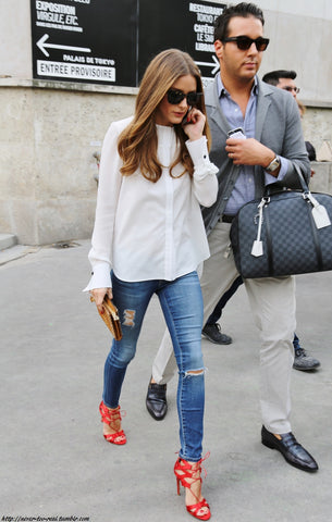 Olivia Palermo Jeans Red Sandals