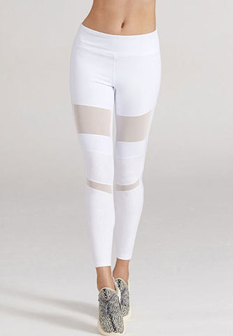 Serena White Mesh Tight - Ankle Length
