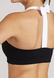 Cathy Yoga Bra - Black with White Straps