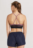 Cindy Mesh Sports Bra - Black with Nude Pink Strap