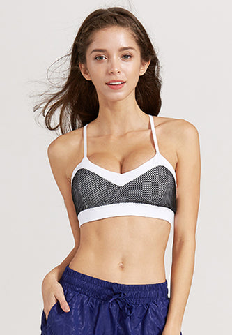 Cindy Mesh Sports Bra - White with Black Mesh