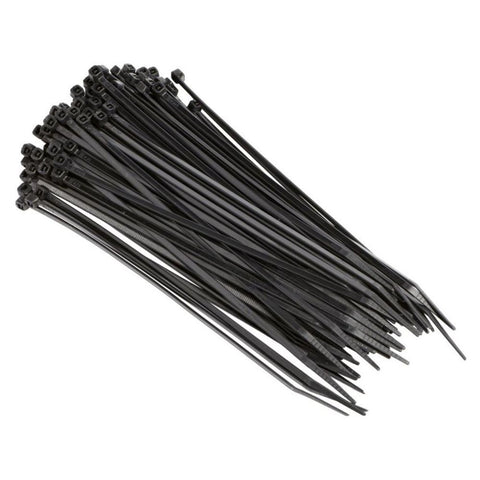 Pack of 100 2.5mm x 200mm Black Zip Cable Tie