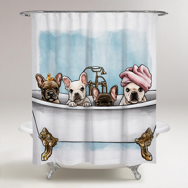 "The Oliver Gal Artist - 71"" X 74"" Frenchies in the Tub Art"