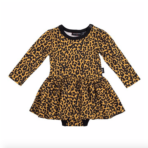 Leopard Skin LS Waisted Dress - Baby