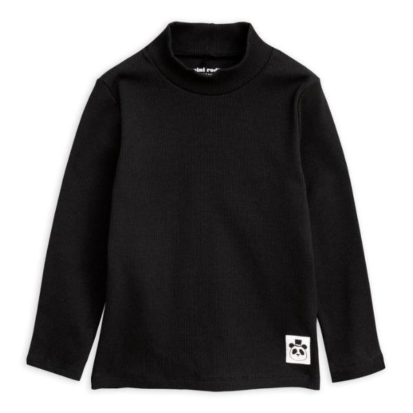 Solid Ribbed Turtleneck LS - Black