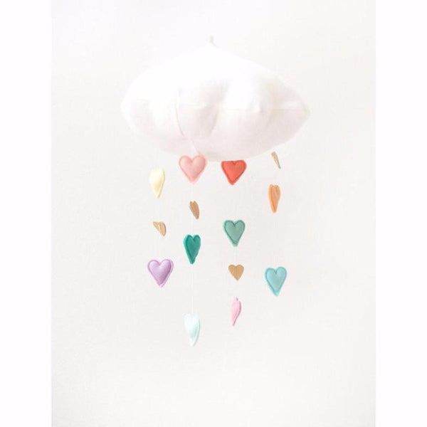 Cascading Pastel & Silver Heart Cloud Mobile