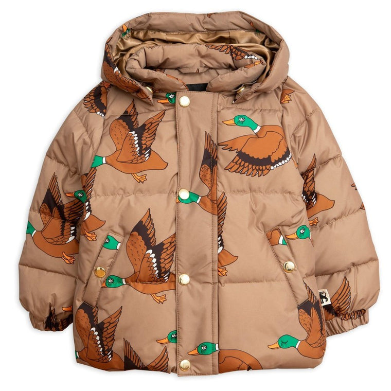 Mini Rodini Wild Duck Hooded Puff Jacket - Brown