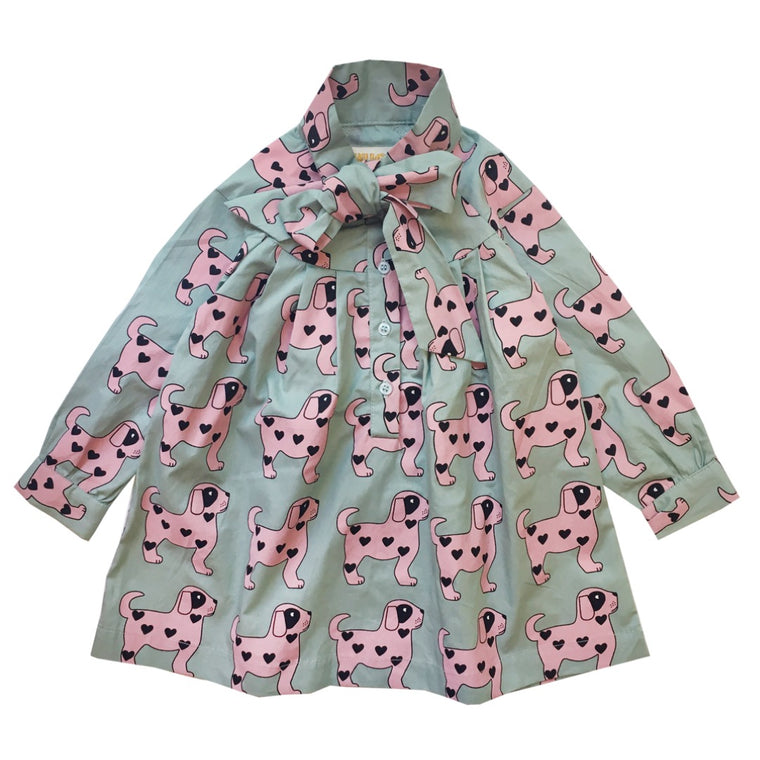 Pink Dogs Bow Dress